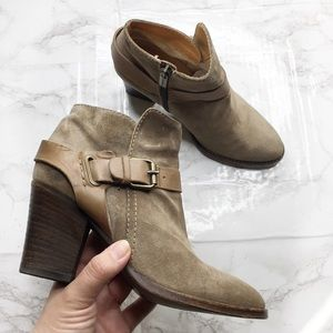 Aquatalia Buckle Strap Leather Ankle Booties
